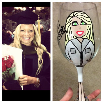 Character Wine Glass, Bride to Be, Nurse, Special Occasions, Custom Made and Hand Painted