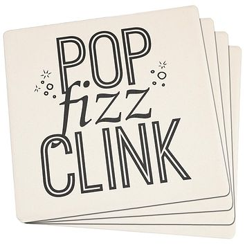 New Years Pop Fizz Clink Set of 4 Square Sandstone Coasters