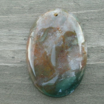 Ocean Jasper Oval Pendant Bead, jewelry supply, pendant stones, multi colored, Ocean Jasper, polished and drilled for DIY jewelry supply