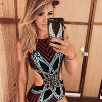 ONETOW 2017 new arrivals boho sexy geometry print backless skinny bodysuits sexy bodysuit floral romper women's romper short