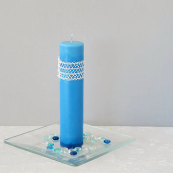 Sky blue soy pillar candle, scented, ecofriendly blue candle, romantic candle in blues for Valentine 's Day.
