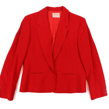Vintage Red Wool Pendleton Blazer - Bright Red Coat Jacket Nautical Preppy - Women's Size Medium Large Med Lrg M L