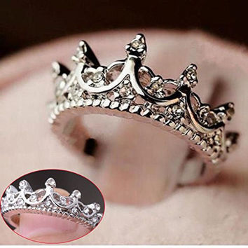Womens Fashion Princess Silver Rhinestone Crown Wedding Rings Gift