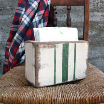 FREE SHIP Grain Sack Striped Napkin Holder Rustic Distressed Painted Wood Upright
