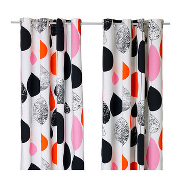BOLLKAKTUS Curtains, 1 pair, white/black, pink - IKEA
