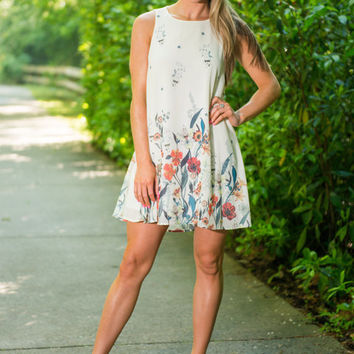 Blooming Gardens Dress, Blue-Red