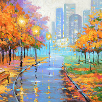 """Autumn in the big city - Artwork Oil Painting on canvas by Dmitry Spiros. Size: 36""""x28""""  (90x70 cm)"""