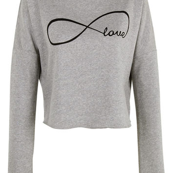 Eternal Love print crop top shirt womens ladies crop sweat