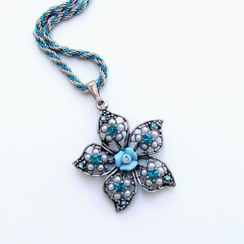 Rhinestones and Porcelain Floral Flower Woodland Necklace
