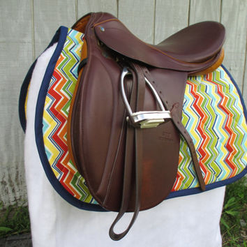 English All-Purpose Saddle Pad:  Rainbow Chevron Stripe with Yellow Backing and Navy Trim