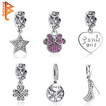 DIY Original Fit Pandora Bracelet Beads Authentic 925 Sterling Silver Love Dangle Charm Crystal Four-clover Wish Star Beads