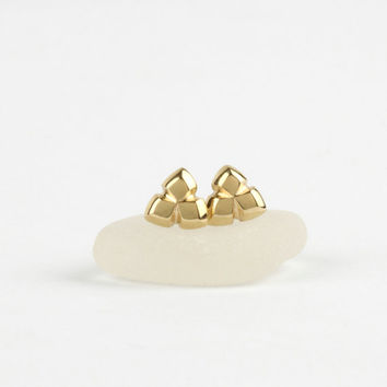 Small gold stud earrings, 14k solid gold earrings, gold posts, triangle contemporary jewelry