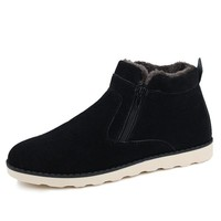 Fur Lined Zip up Ankle Booties for Men