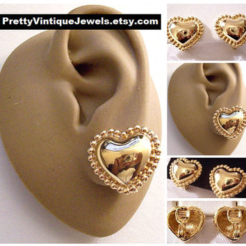 Monet Beaded Heart Clip On Earrings Gold Tone Vintage Smooth Puffed