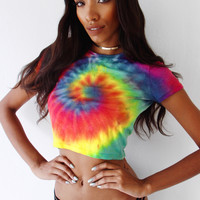 Rainbow Tie Dye Crop top