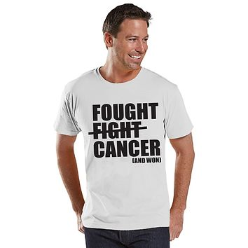 Men's I Fought Cancer Shirt - Cancer Awareness T-Shirt - White T Shirt - Team Race Running Shirt - Fight Cancer Shirt - Cancer Survivor Tee