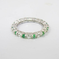 Eternity Band Ring, Sterling Silver Emerald White Topaz Channel Set Stones, Wedding Band, Stacking Ring