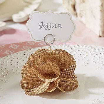 Burlap Rose Place Card Holder (Set of 30), Rustic Wedding Decorations, Rustic Wedding Favors