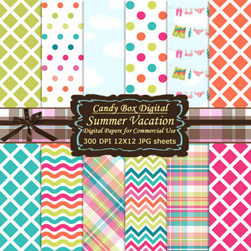 Summer Paper, Beach Paper, Summer Digital, Beach Digital, Summer Scrapbook, Beach Scrapbook, Retro Summer, Retro Paper - Commercial Use OK