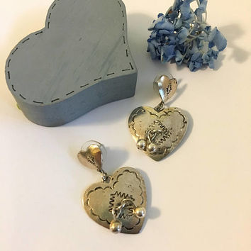 Silver Heart Earrings Vintage Boho Southwestern Style Heart Jewelry Artisan Etched Double Heart Post Earrings With Dangles Romantic Gift