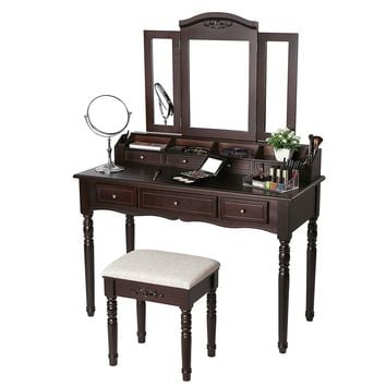 Vanity Table Set Brown in color with 7 Drawers and Tri-folding Mirror