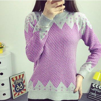 Purple Geometric Print Sweater