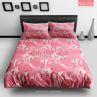 Pink Flamingos Pattern Bedding Sets Home Gift Home & Living Wedding Gifts Wedding Idea Twin Full Queen King Quilt Cover Duvet Cover Flat Sheet Pillowcase Pillow Cover 074