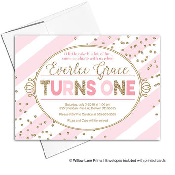 Digital first birthday party invitations girls | pink and gold girls birthday invites | Printable or printed Willow Lane Prints - WLP00321