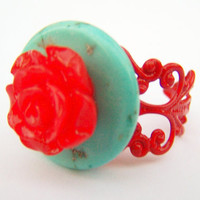 Frida Kahlo Inspired Ring  Consuela  Turquoise by polishedtwo