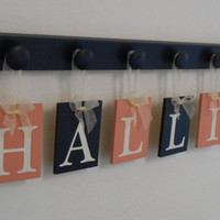 Coral and Navy Baby Nursery Wall Letters Personalized  for HALLIE Set with 6 Wooden Plaque Letters Coral and Navy, Pegs Hooks in Navy Blue