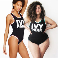 2017 High Cut  Beyonce Jumpsuit IVY PARK Letter Print One Piece Swimsuit Ladies Beach Bathing Suit Plus Size Swimwear Bodysuit