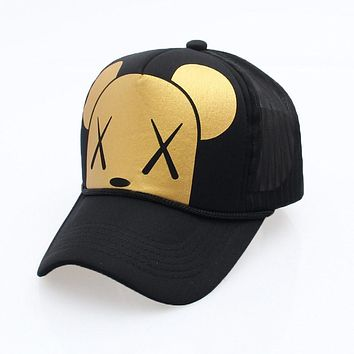 Women's Cartoon Adjustable Strap Mesh Back Panel Trucker Baseball Cap Black Gold White