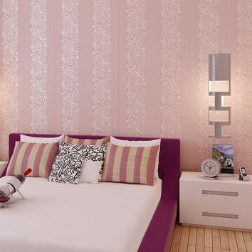 straight pin contracted 3 d non-woven wallpaper vertical stripes stereo flocking sitting room the bedroom TV setting wall paper