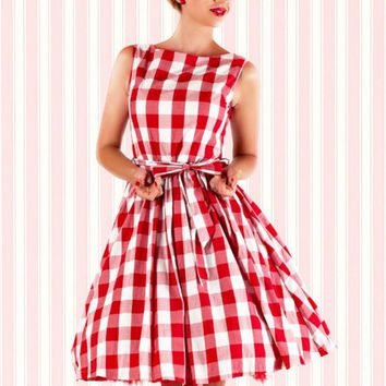 Red and White Plaid Sleeveless Tent Dress with Waist Tie
