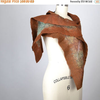 CHRISTMAS SALE Brown Felted Scarf - Nuno Felted Scarf - Merino Wool Felted Scarf - Silk Scarf - Nuno - Felted - Women's Accessories