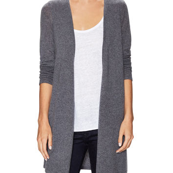 Wythe NY Women's Long Open Cashmere Cardigan - Dark Grey -