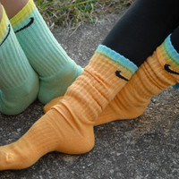 New Custom Color Block Nike Crew Socks Any Two Colors You Want