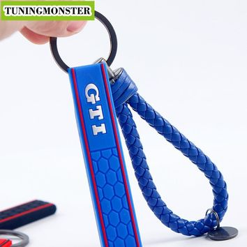 GTI Golf & BV Leather Silicone Rubber Keyring Key Ring Keychain Chain Keyfob For MK2 MK3 MK4 MK5 MK6 MK7 Honeycomb  Car Truck