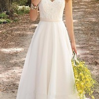 Embroidery Beach A-Line Wedding Dress