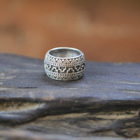 Mens Aztec Ring in Solid 925 Sterling Silver