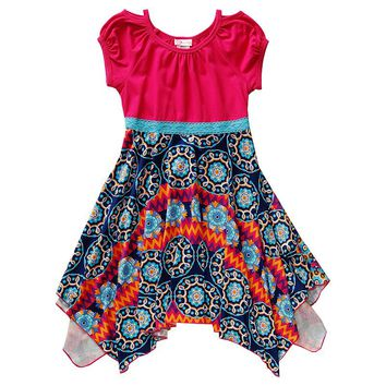 Youngland Medallion Handkerchief Dress - Girls