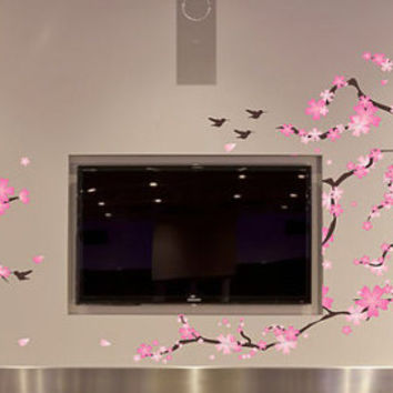 Cherry Blossom Wall Art Cherry Blossom wall Decal Cherry Branch Vinyl Stickers mural nursery living room flying birds reusable available