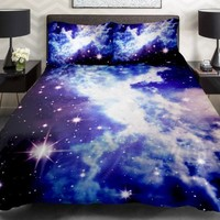 Anlye Galaxy Duvet Cover Galaxy Quilt Cover Galaxy Sheets Space Sheets Girls Bedding Sets White Bedding Set with 2 Matching Pillow Covers (Twin)