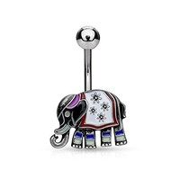 Belly Button Ring Lucky Elephant India Navel Antique Stainless Steel 14G Body Piercing Jewelry
