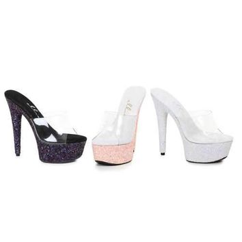 "6"" Pointed Stiletto Mule Sandal With Glitter Platform"