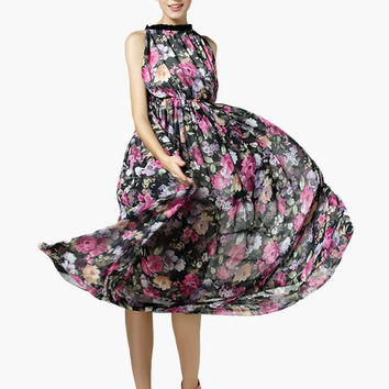 Black Floral Print Halter Maxi Dress