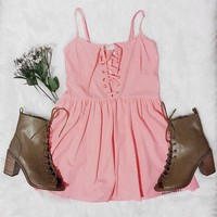 Pink Lace Up Romper
