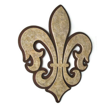Fleur de Lis wall decor, hand painted in brown and tans with antiqued crackle finish stacked wooden fleur de lys French style decor