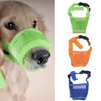New Dog Anti Bark Bite Mesh Small Large Dogs Pet Mouth Bound Device Safety Adjustable Breathable Muzzle Stop Biting