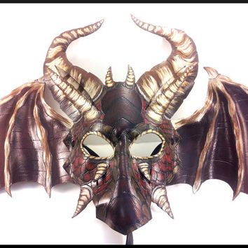 Large Red and Brown Leather Dragon Mask with Hand Carved Scales, Horns, and Wings